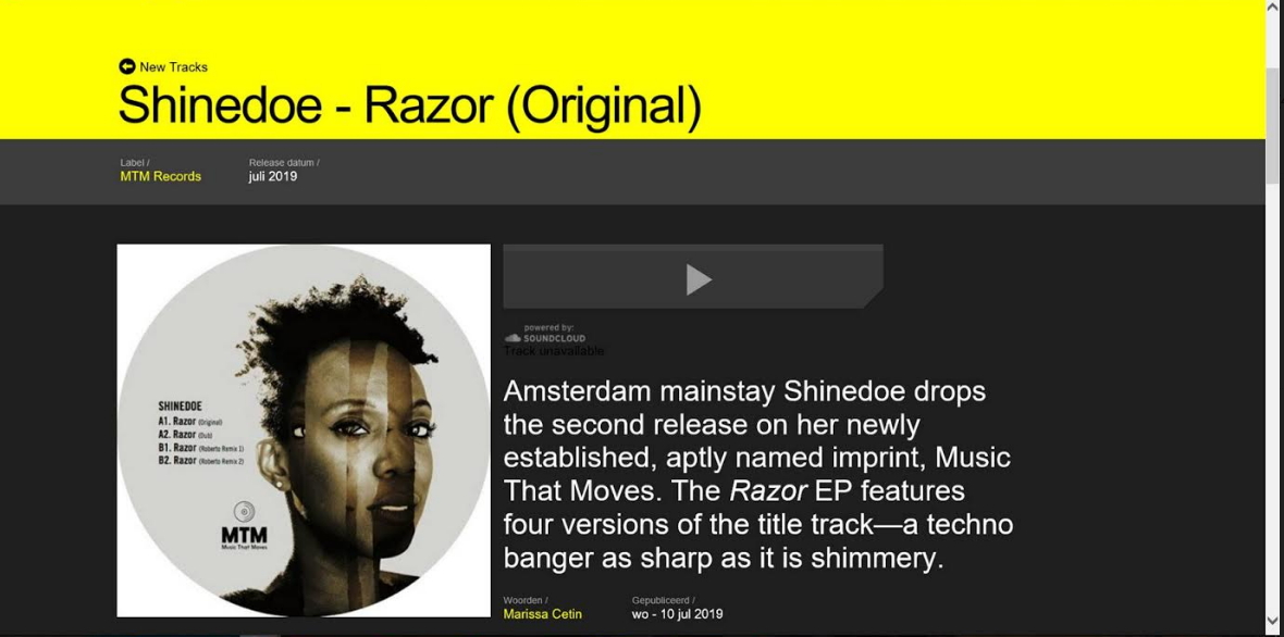 Resident Advisor new track feature July