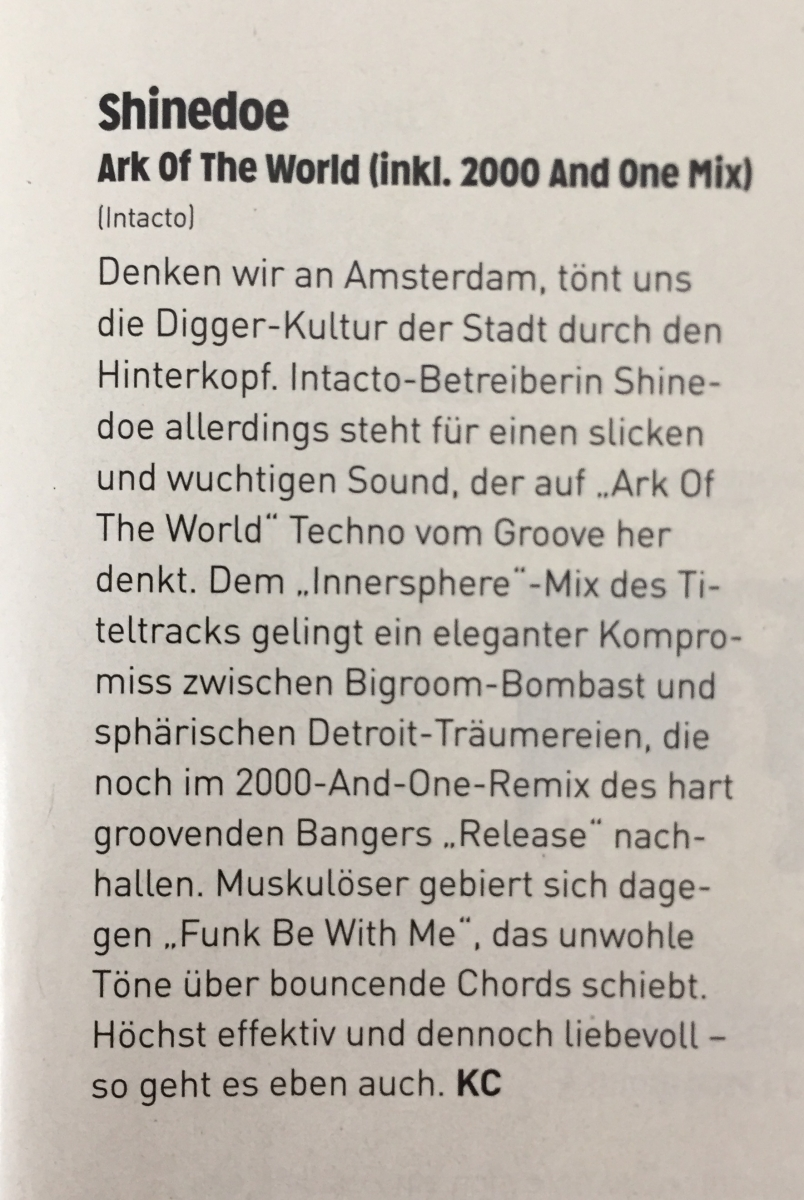 Ark of the World review by Groove Magazin