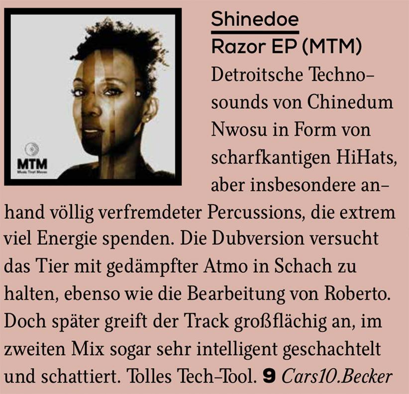 Faze Magazine review Razor EP on MTM Records in August issue