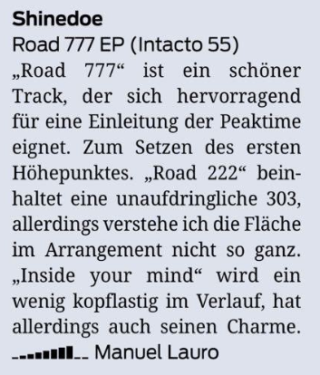 Road 777 EP reviewed at Faze Magazine Germany