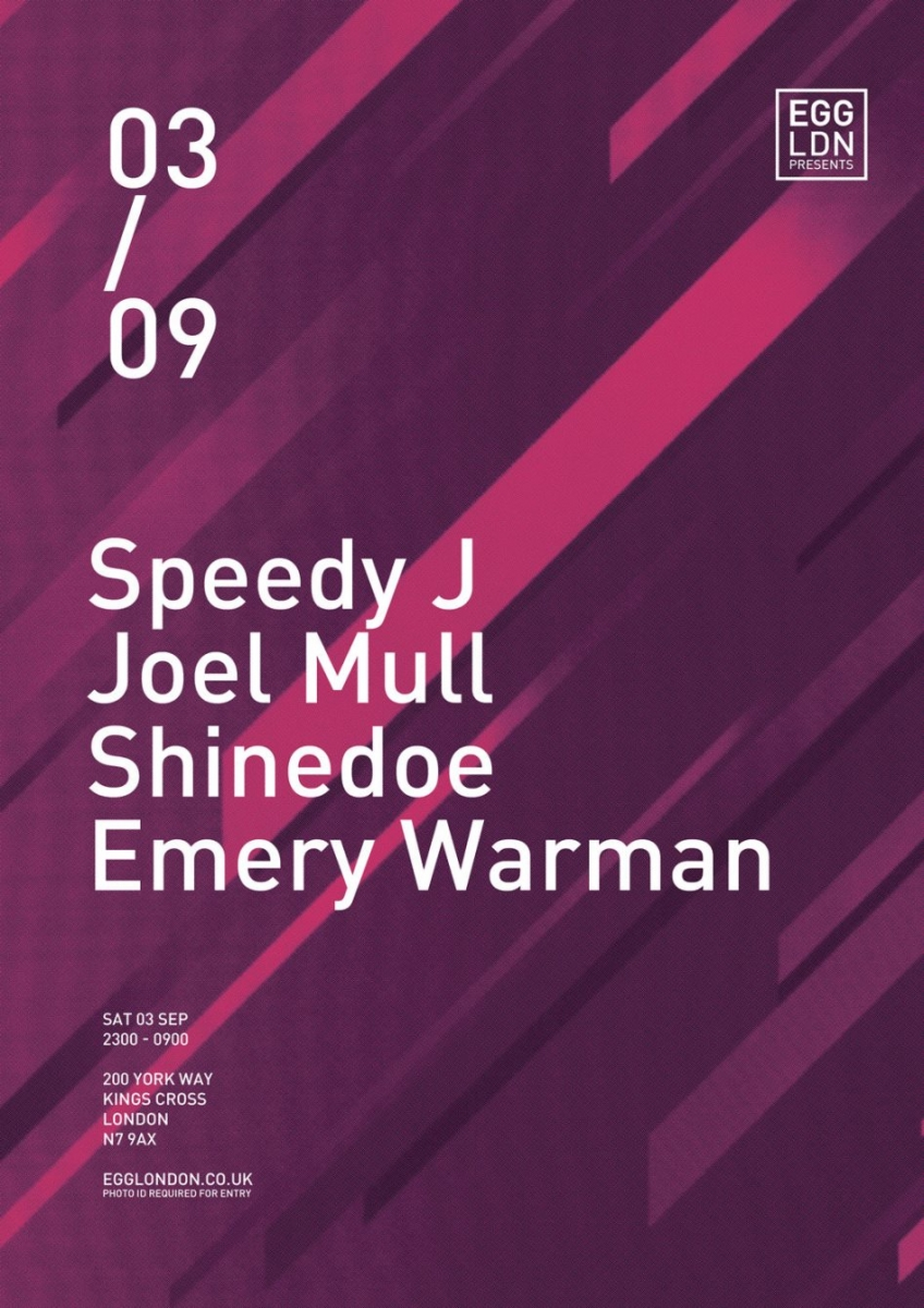 Shinedoe joins Speedy J and Joel Mull at Egg London